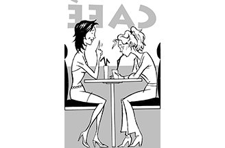 Two women chat at a bar 2